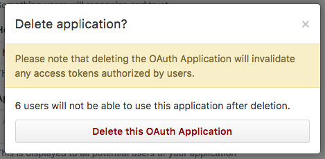 GitHub delete application prompt